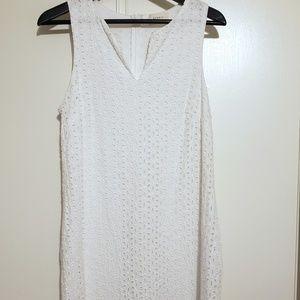 Everly White Eyelet Sleeveless V-Neck Dress